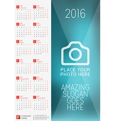 Wall calendar poster for 2016 year design print vector