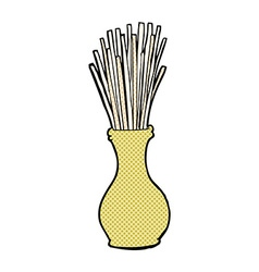 Comic cartoon reeds in vase vector