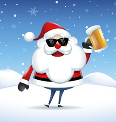 Santa claus with a beer celebrating in christmas vector