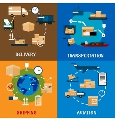 International delivery and logistic flat icons vector