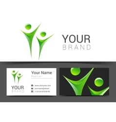 Business card for your business people logo green vector
