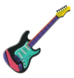Colorful guitar isolated on white vector image