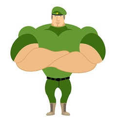 Marine in green beret special forces of strong man vector