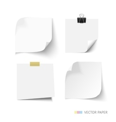 Set of post it paper sheets realistic vector
