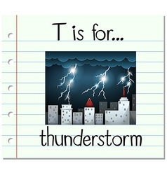 Flashcard letter t is for thunderstorm vector