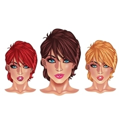 Beautiful girls with short haircuts vector