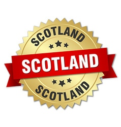 Scotland round golden badge with red ribbon vector