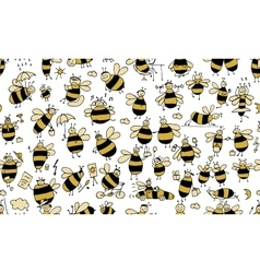 Funny bees seamless pattern for your design vector