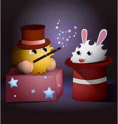 A cartoon magician and a rabbit inside magic hat vector