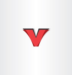 abstract letter v red logotype symbol vector image vector image