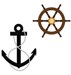 Anchor with rope and wheel vector