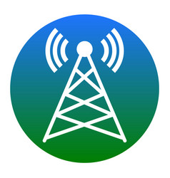 antenna sign white icon in vector image