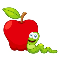 Apple and worm vector image
