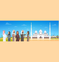 arab people coming to mosque building muslim vector image vector image