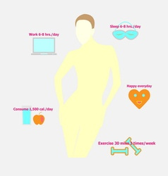 Be healthy woman habits infographic vector image