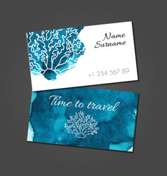 Business card with coral on blue watercolor stain vector