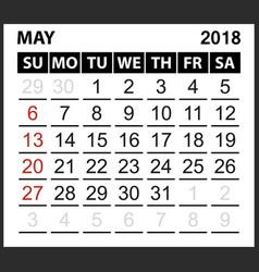Calendar sheet may 2018 vector