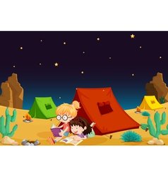 Camping in Desert vector image