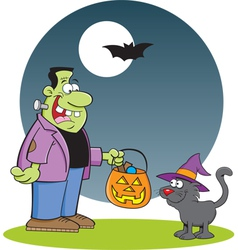 Cartoon Frankenstein with a Cat vector image
