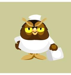 cartoon owl doctor paramedic vector image vector image