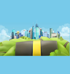 city and road landscape vector image vector image