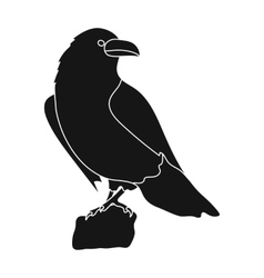 Crow of viking god icon in black style isolated on vector