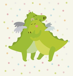 Cute dinosaur couple vector