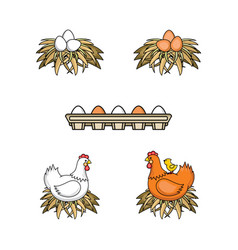 Flat poutry farm chicken set vector
