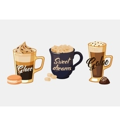 Glace coffee and portugal galao cup with sugar vector