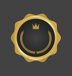Golden and black luxury metallic badge template vector
