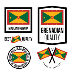 grenada quality label set for goods vector image vector image