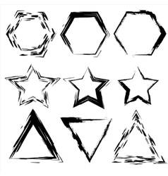 Grunge shapes Star triangle hexagon Set of vector image vector image