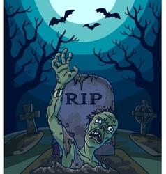 Halloween with spooky zombie vector