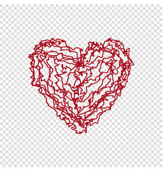 hand drawn doodle heart on transparent background vector image vector image