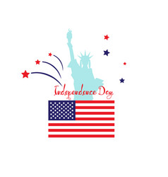 Independence day card statue usa stars flat flag vector