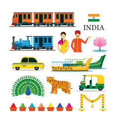 India transportation and animals objects icons set vector