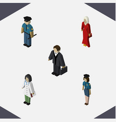 Isometric people set of female investor doctor vector