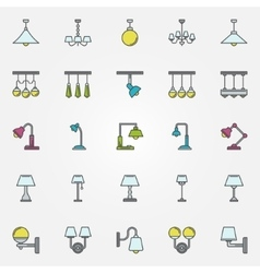 Lamp icons or signs vector