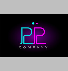 neon lights alphabet pp p p letter logo icon vector image vector image
