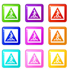Pedestrian road sign icons 9 set vector