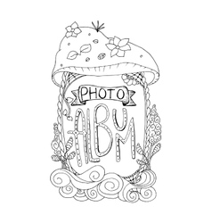 Photo album cover design in coloring book page vector