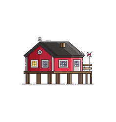 Red stilt house vector