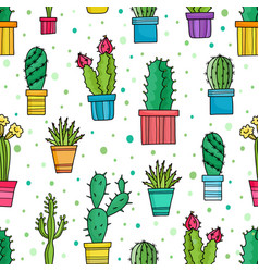 seamless pattern of green cacti and plants vector image vector image