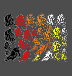 set of mountain bicycle vector image vector image