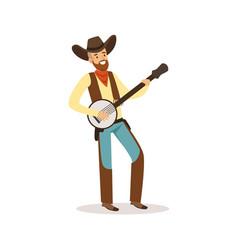 smiling cowboy playing banjo western cartoon vector image vector image