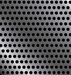 Steel background with seamless circle perforated vector image vector image