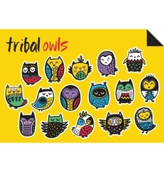 Sticker set with tribal owls vector image vector image