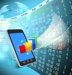 Stock exchange on mobile vector