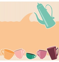 Stripy greeting card with teapot and cups vector image