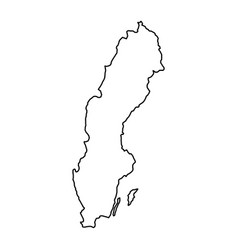 Sweden map of black contour curves of vector